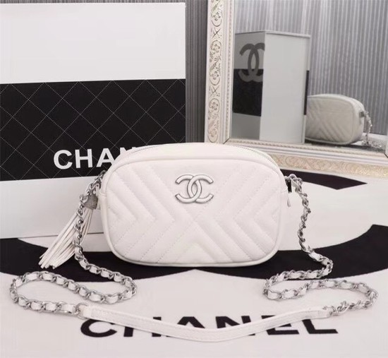 Chanel Calfskin Camera Case bag A57617 white