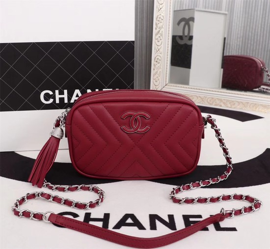 Chanel Calfskin Camera Case bag A57617 red