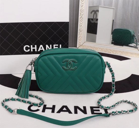 Chanel Calfskin Camera Case bag A57617 green