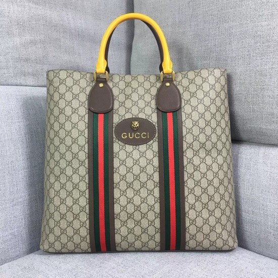 Gucci GG Supreme Canvas tote bag 473870 Yellow&brown