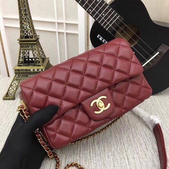 Chanel mini Sheepskin Leather cross-body bag 5698 red