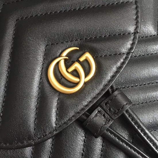 9d2f690c385 Gucci GG Marmont matelasse backpack 528129 Black