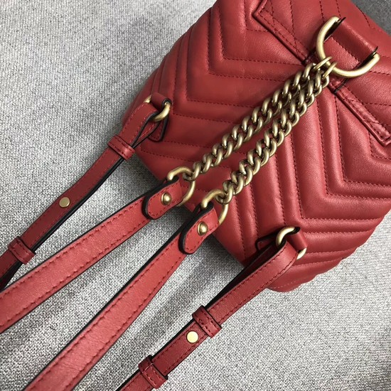 4fcd1f2ea33 Gucci GG Marmont matelasse backpack 528129 red