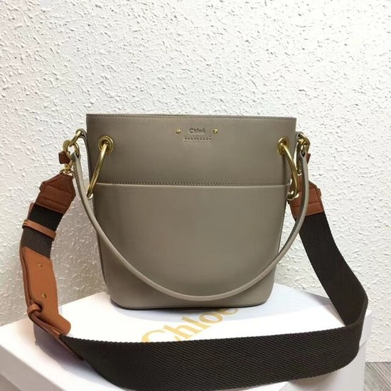 Chloe Roy Mini Smooth Leather Bucket Bag S126 grey