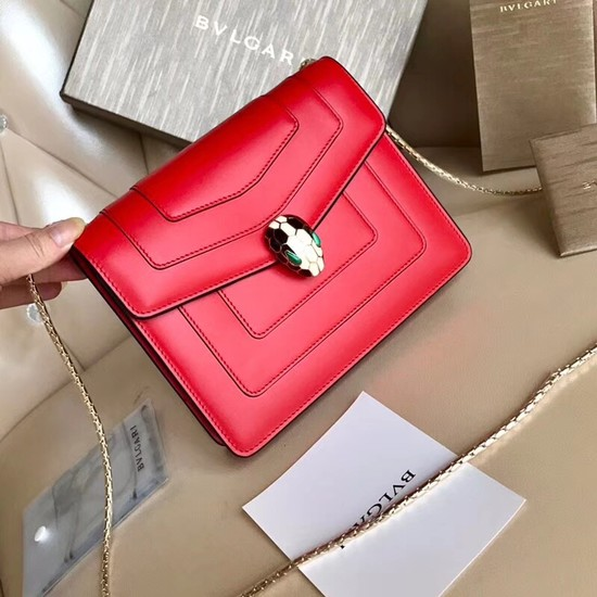 BVLGARI Serpenti Forever Flap Cover leather bag 00962 red