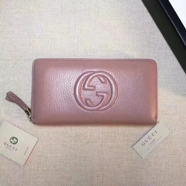 Gucci Leather zip around wallet 308004 pink