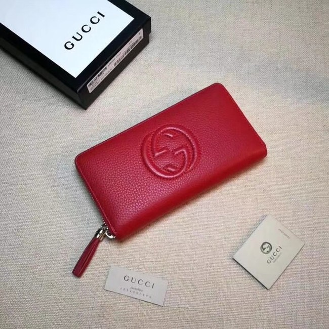 Gucci Leather zip around wallet 308004 red