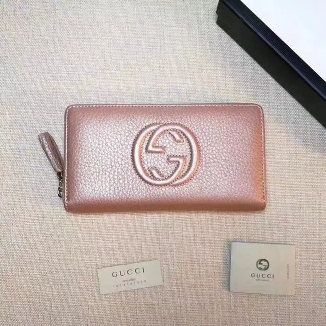 Gucci Leather zip around wallet 308004 gold pink