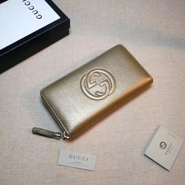 Gucci Leather zip around wallet 308004 gold