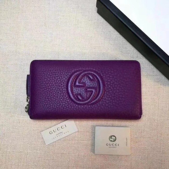 Gucci Leather zip around wallet 308004 purple