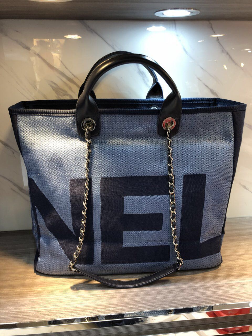 575a7b76a97f1c Chanel Medium Canvas Tote Shopping Bag 55699 blue - $329.00