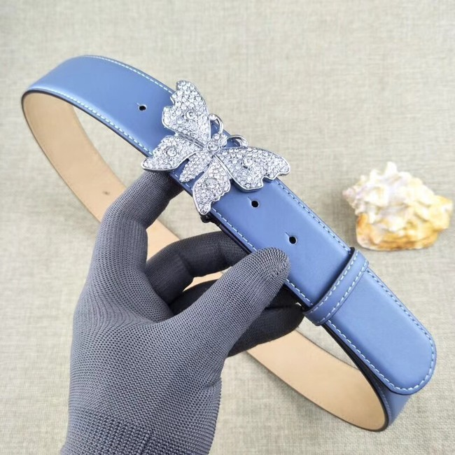 60b9d33db49 Gucci leather belt with butterfly 499553 blue -  139.00