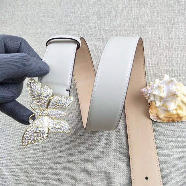 72389751506 Gucci leather belt with butterfly 499553 white -  139.00
