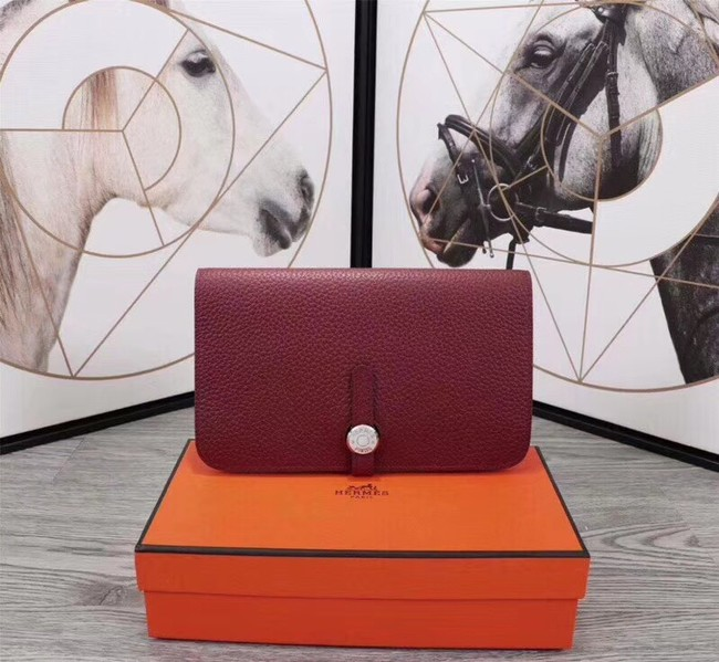 Hermes Original togo leather wallet A3359 fuchsia
