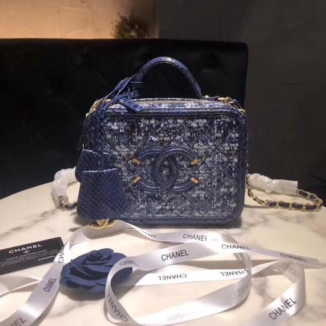 Chanel Vanity Case A93343 Blue& Black& Ecru & Silver