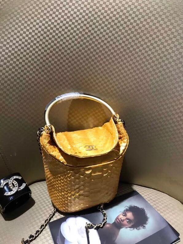 Chanel Bucket Bag Python   Gold-Tone Metal A57861 Gold -  499.00 d61d1e44a0338