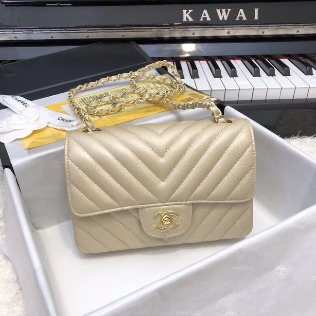 Chanel Small Classic Handbag Grained Calfskin & Gold-Tone Metal A69900 gold