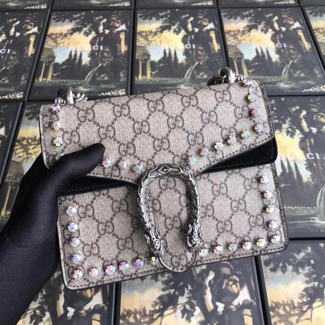 b9c4833e36d Gucci Dionysus GG Supreme canvas crystal mini bag 421970 black
