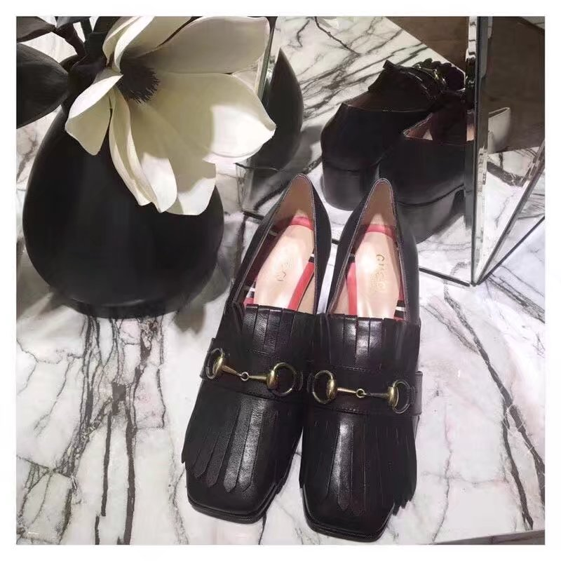Gucci Leather mid-heel pump GG1335BL black