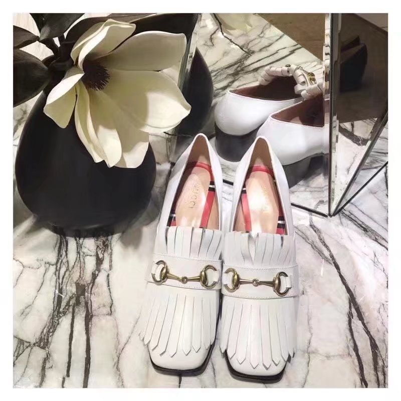Gucci Leather mid-heel pump GG1335BL white