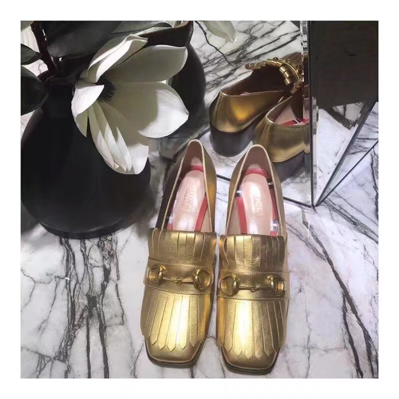 Gucci Leather mid-heel pump GG1335BL gold