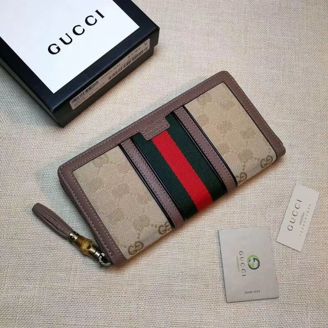 Gucci GG canvas zipper wallet 353651 pink
