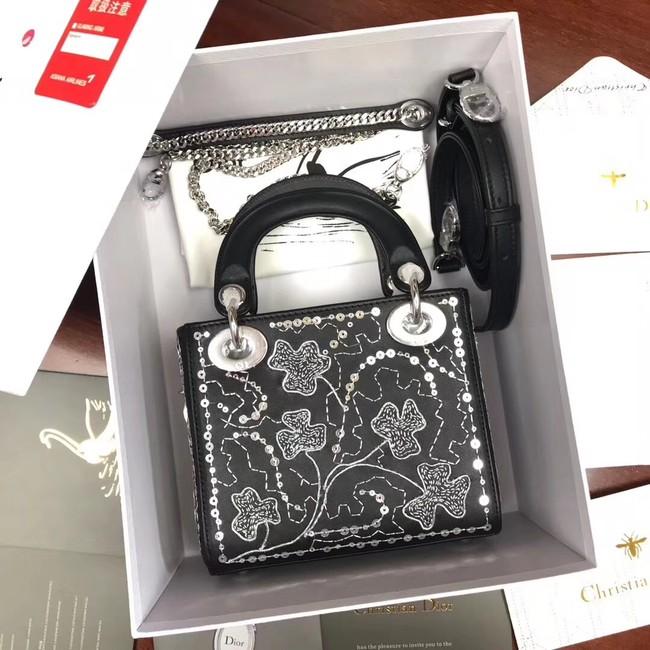 MINI LADY DIOR BAG IN EMBROIDERED CALFSKIN M0505 BLACK 65abc22105fff