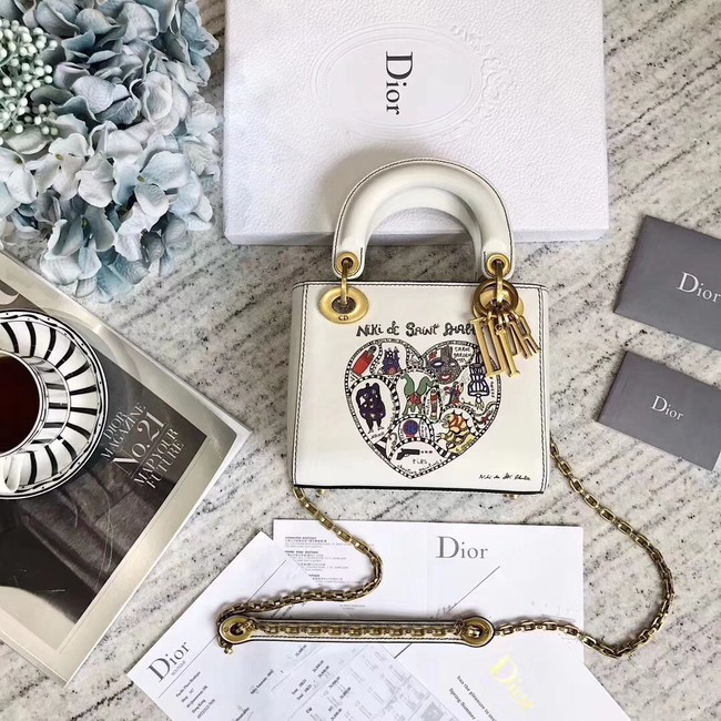 MINI LADY DIOR BAG WITH CHAIN IN WHITE SMOOTH CALFSKIN WITH NIKI DE SAINT  PHALLE EMBROIDERY c200c6039b2ea