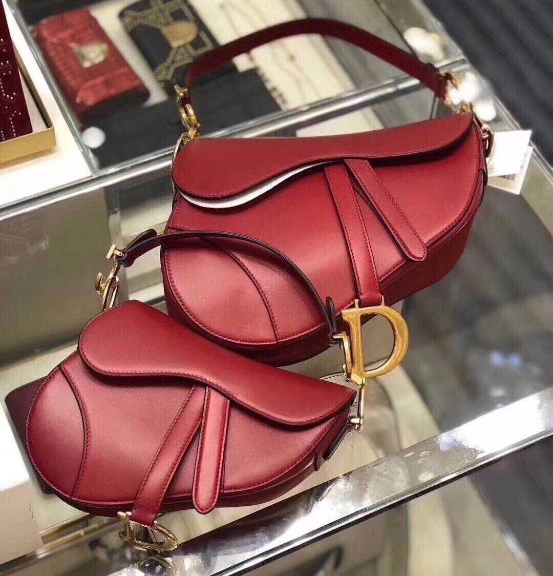 Dior SADDLE BAG IN RED CALFSKIN M0446 red