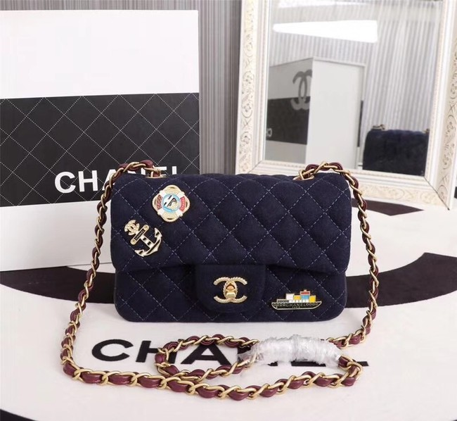 Chanel Mini Flap Bag A1116 Navy Blue