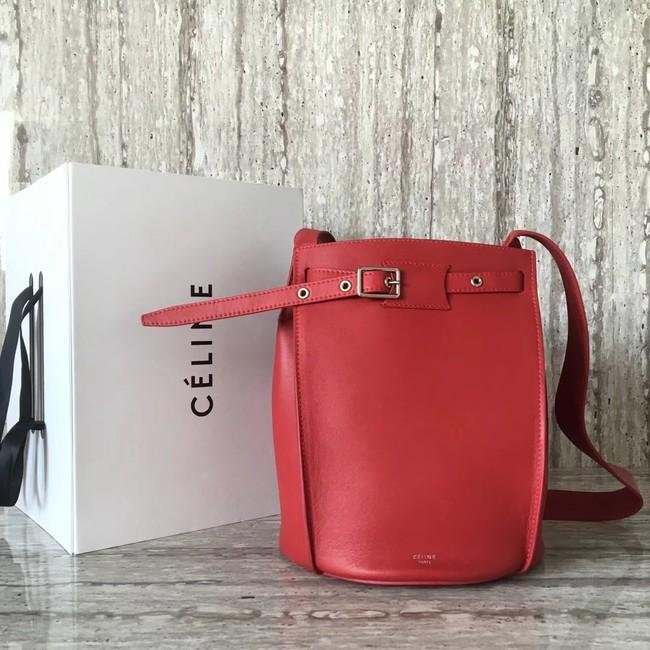 CELINE BIG BAG BUCKET IN SUPPLE GRAINED CALFSKIN 55428 red