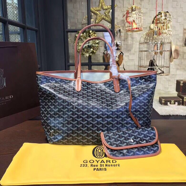 Goyard Y Doodling Calfskin Leather Tote Bag 79555 blue