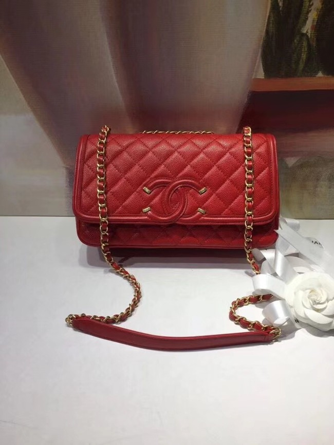 CHANEL Original Clutch with Chain A85533 red