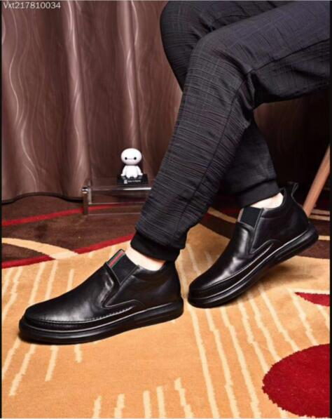 Gucci Man Leather Shoes GG9654 Black