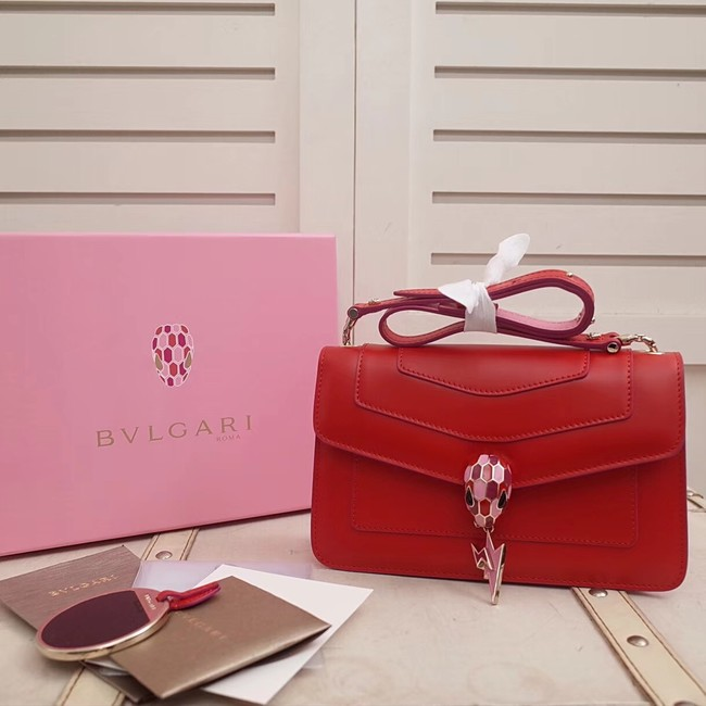 BVLGARI Serpenti Forever metallic-leather shoulder bag 39174 red