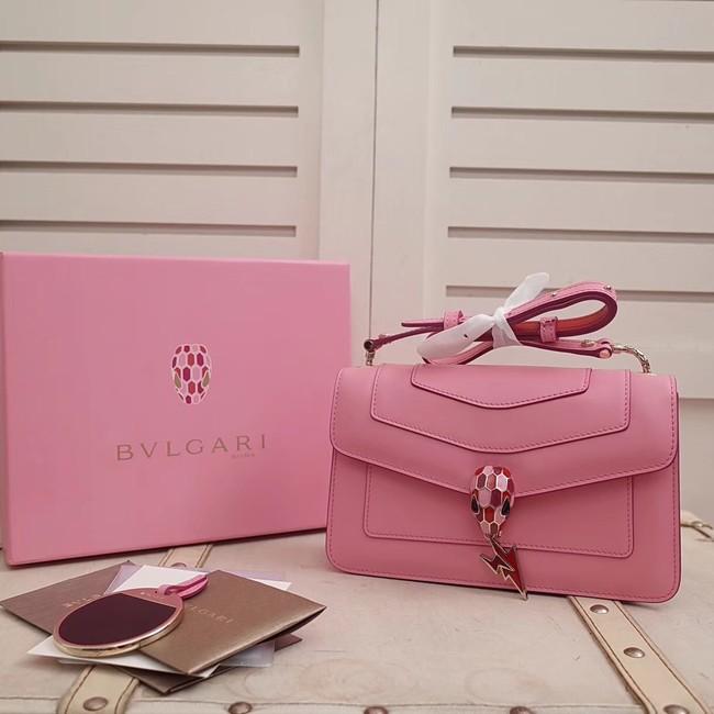 BVLGARI Serpenti Forever metallic-leather shoulder bag 39174 pink