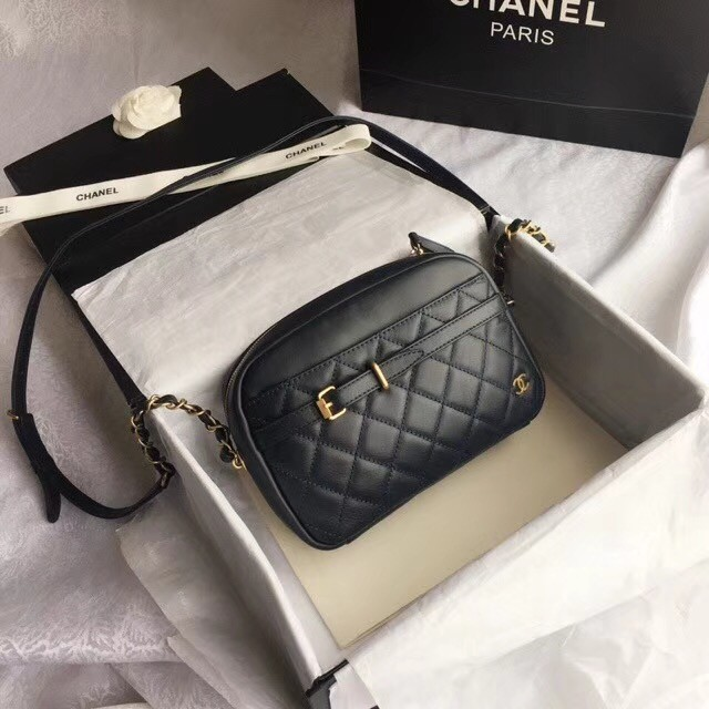 Chanel Original Camera Case Calfskin & Gold-Tone Metal A57659 navy blue