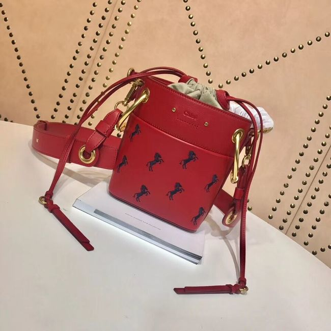 CHLOE Mini Roy leather bucket bag 3E128C red