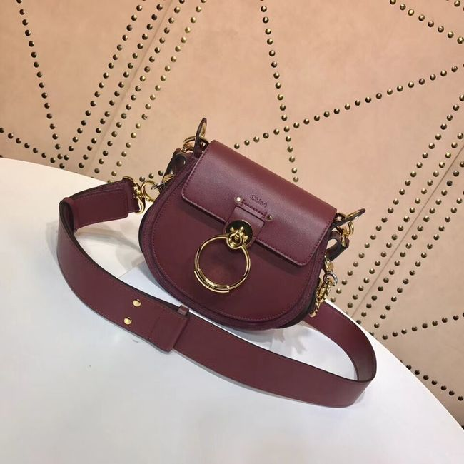 CHLOE Tess Small leather shoulder bag 3E153 Plum purple