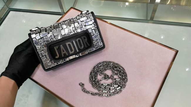 DIOR WITH CHAIN SMOOTH CALFSKIN EMBROIDERED WITH A MOSAIC OF MIRRORS M900 black