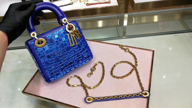MINI LADY DIOR BAG WITH CHAIN SMOOTH CALFSKIN EMBROIDERED WITH A MOSAIC OF MIRRORS M0598 blue