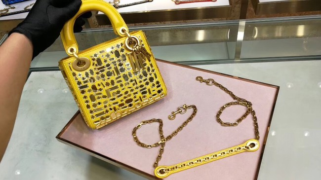 MINI LADY DIOR BAG WITH CHAIN SMOOTH CALFSKIN EMBROIDERED WITH A MOSAIC OF MIRRORS M0598 yellow