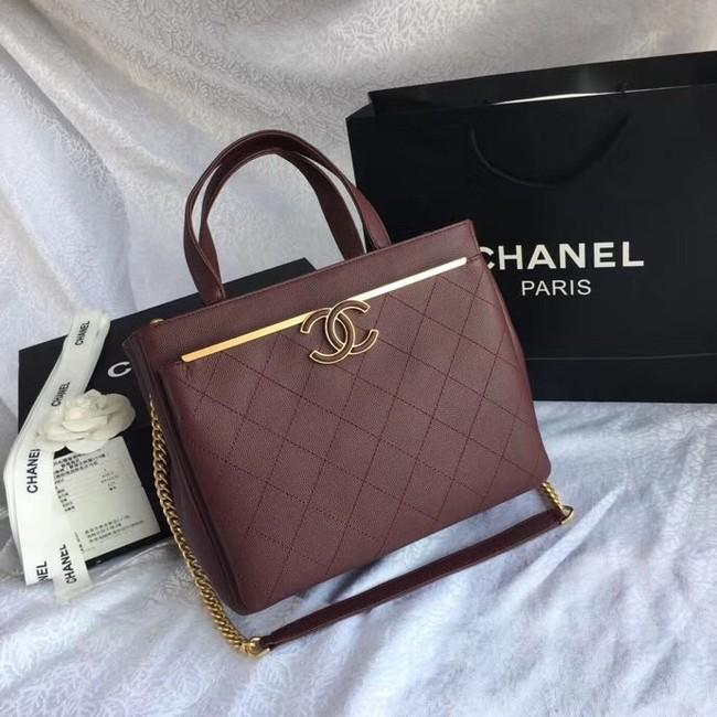 Chanel Small Shopping Bag Grained Calfskin & Gold-Tone Metal A57563 Burgundy