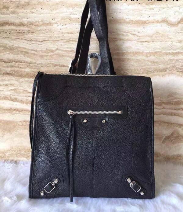 Balenciaga Backpack Black Litchi Leather B65535