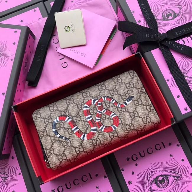 Gucci Kingsnake print GG Supreme zip around wallet 451273