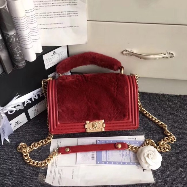 fd8bf5682d3e2f BOY CHANEL Flap Bag with Handle Orylag Calfskin & Gold-Tone Metal A94804 red