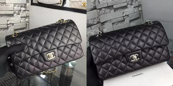 Chanel 2.55 Series Flap Bag Lambskin Leather A5024 Black