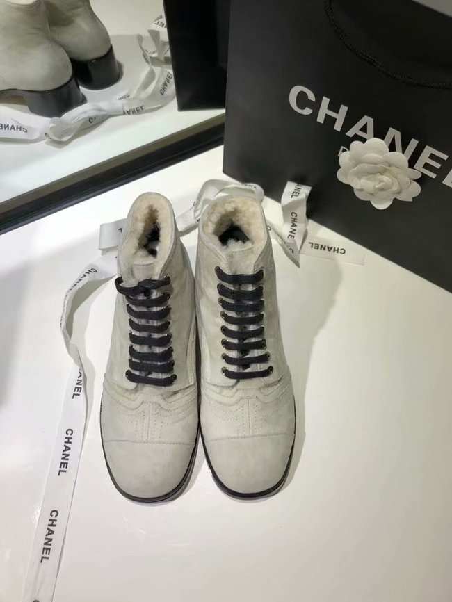 Chanel Lace-Ups Suede Calfskin & Shearling CH2443MG grey
