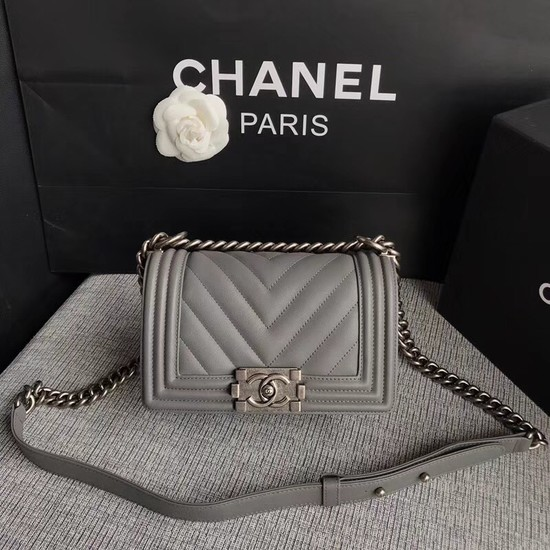 Chanel Le Boy Flap Shoulder Bag Original Calf leather A67085 Grey silver Buckle
