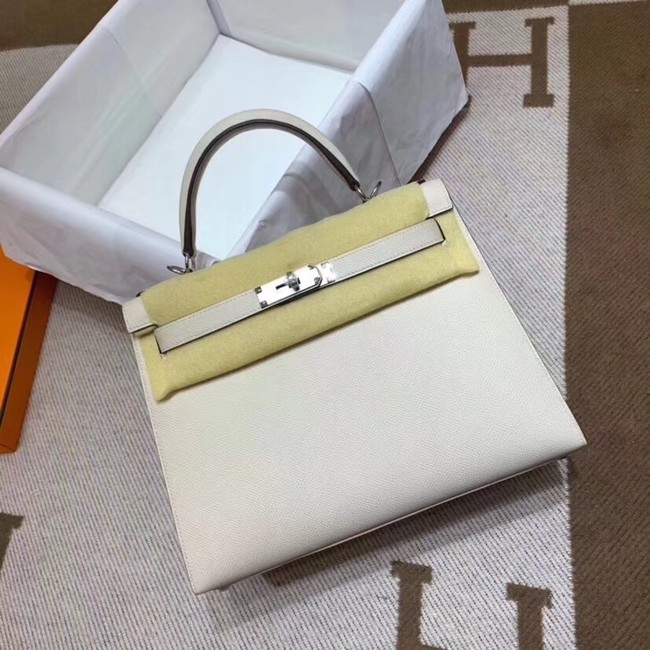 Hermes Kelly 28cm Shoulder Bags Epsom Leather KL28 creamy-white